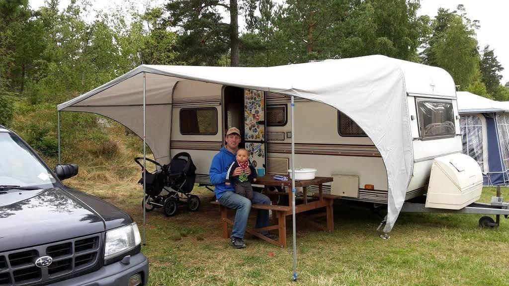 Vi har campat i Västervik i ösregn i vår fina husvagn!