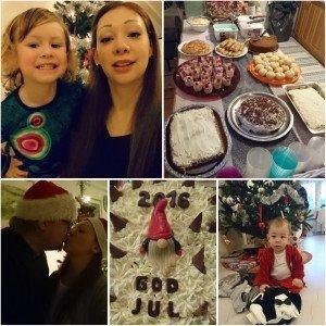 De 2 översta bilderna är ifrån nyår. De 3 undre från julafton 2016.