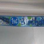 Happy 1st Birthday banner.