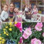 Jag med barnen samt Lisebergs fina blommor.