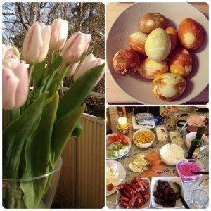 Ägg pyssel, tulpaner, middag