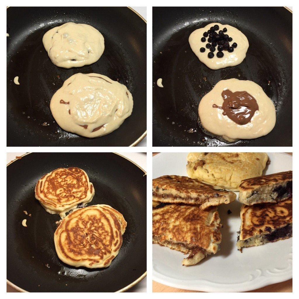 Amerikanska pannkakor, American Pancakes, Chocolate, Blueberry