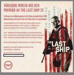 The Last ship, Eric Dane, Wonderland Event, Serie, TNT, Premiär, Världens minsta bio