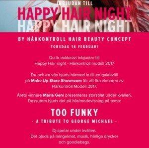 Happy Hair Night, hårkontroll modell 2017, galakväll, event, make up store, showroom, erwik communication, blogg, fotohella