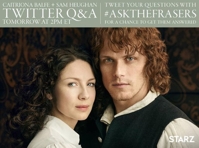 Twitter, Q&A, caitriona balfe, sam heughan, jamie fraser, claire, live