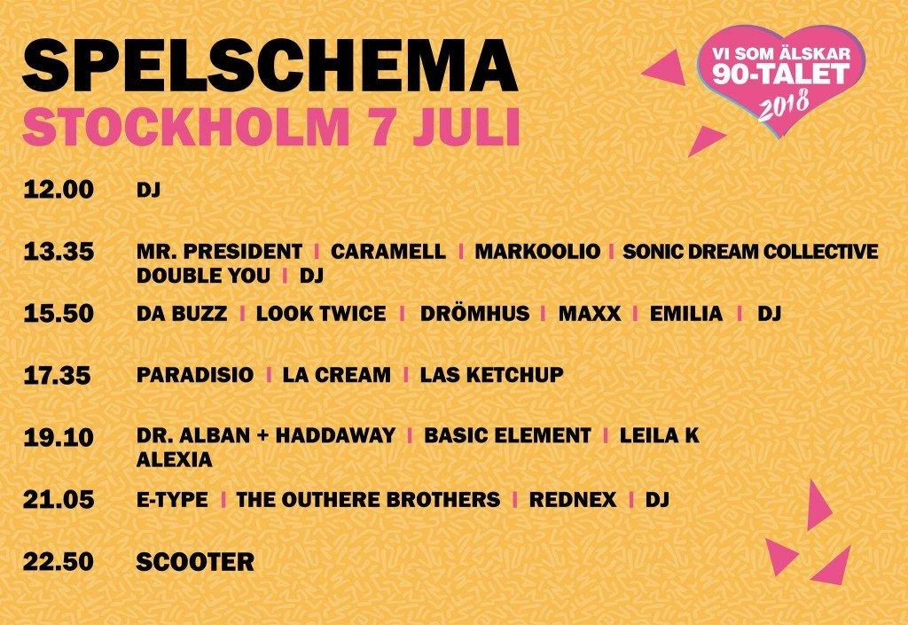 Festival, musik, influencer, blogg, fotohella, spelschema, 90-tal, haddaway, leila k, e-type, da buzz, la cream
