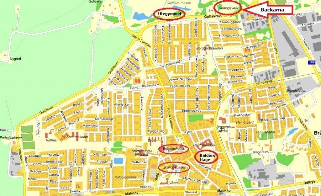 Karta - backarna vid reningsverket