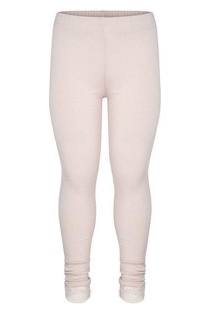 Rosa leggings med spetskant