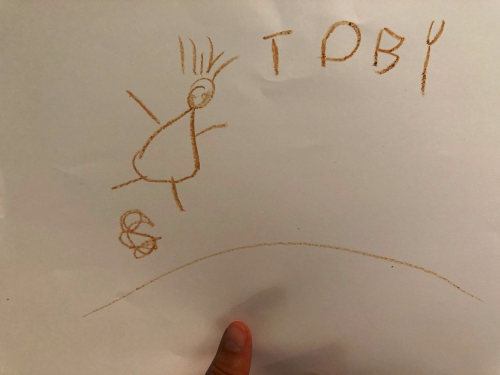 """Det började med att T ritade en teckning av B som bajsade på golvet (av ingen anledning alls). Det slutade med att B ritade denna tillbaka och hela familjen dansade och sjöng """"Pappa bajsar på golvet!"""" Jag känner att epiteten """"Mogen"""" och """"Vis"""" stämmer bra in på mig och T."""