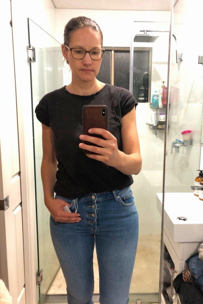 Fick hem Anine Bing-jeans som jag köpt på 70% rea. Jättenöjd!