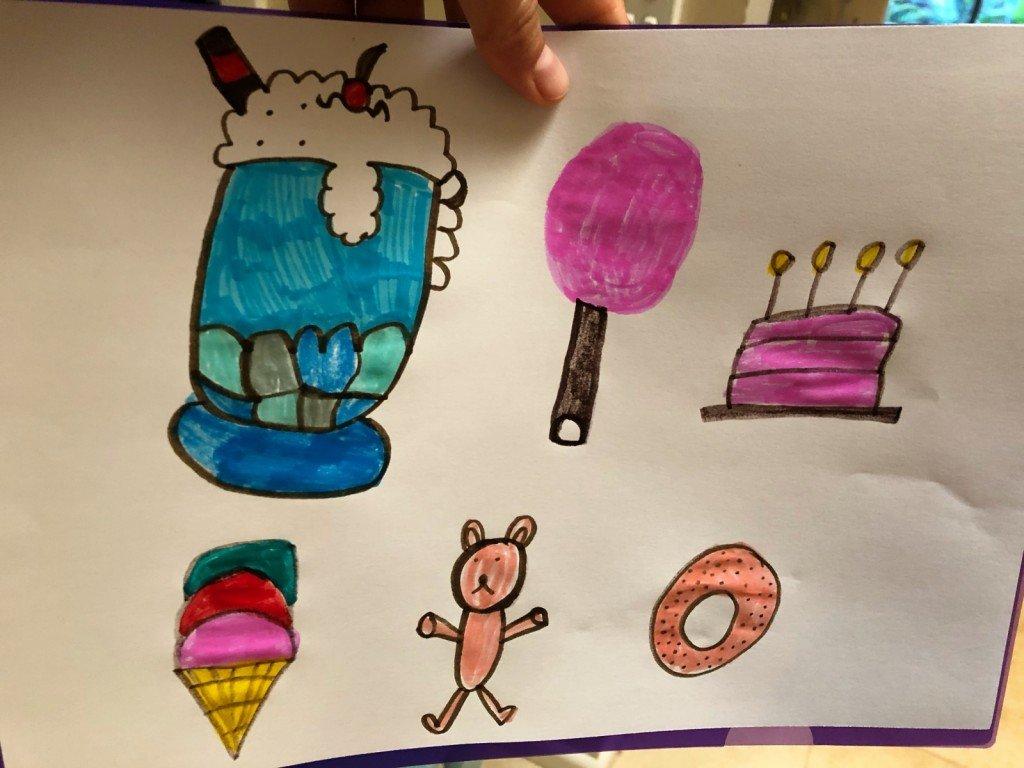 B's teckning till hennes news day om onyttig mat.