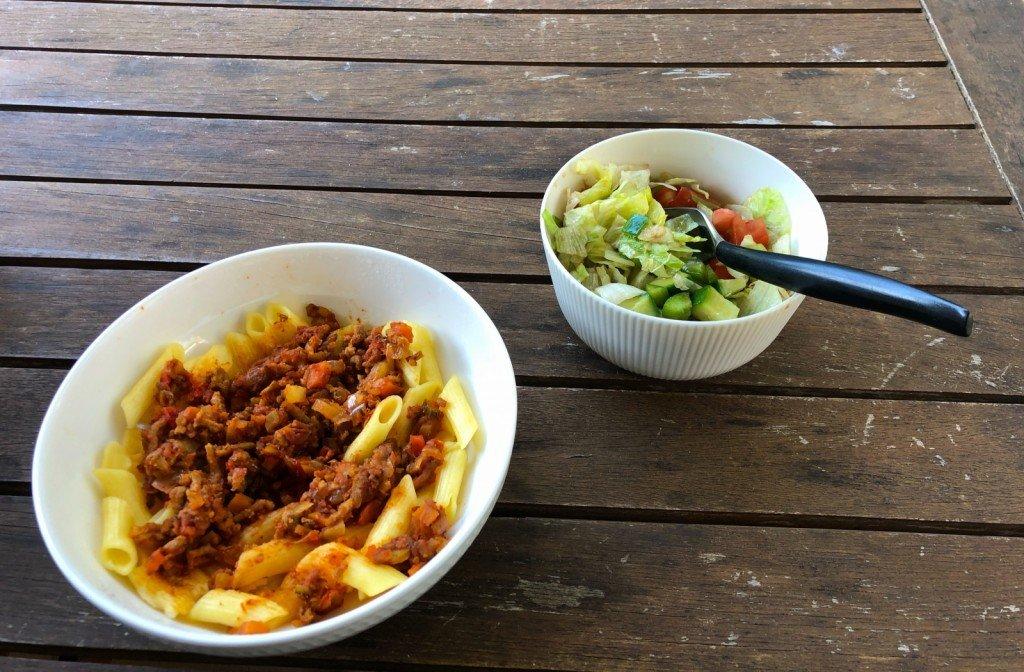 Dagens lunch på uteplatsen.