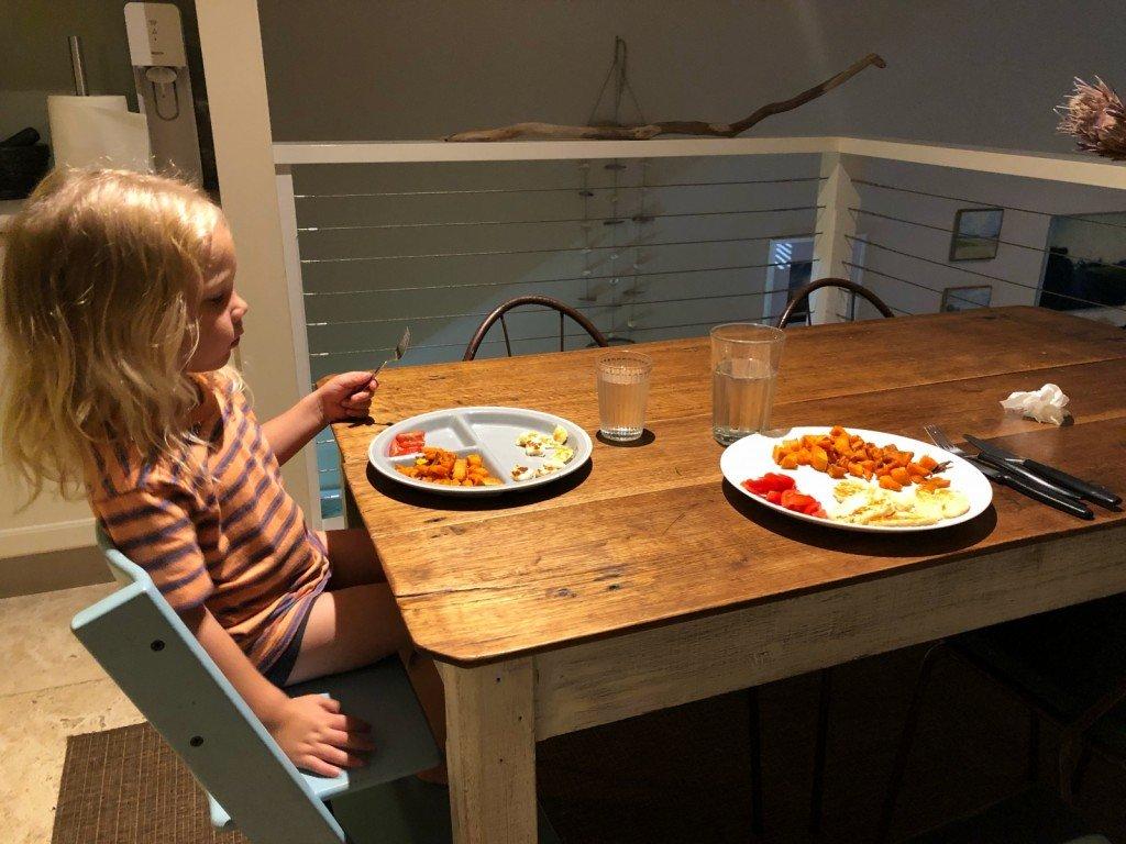 Halloumi och sötpotatis till middag när jag lagar.