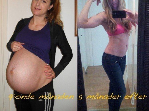 magen före och efter graviditet